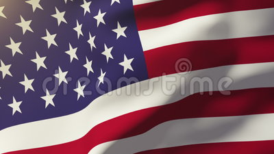 United states flag waving in the wind. Looping sun rises style. Animation loop. Ing