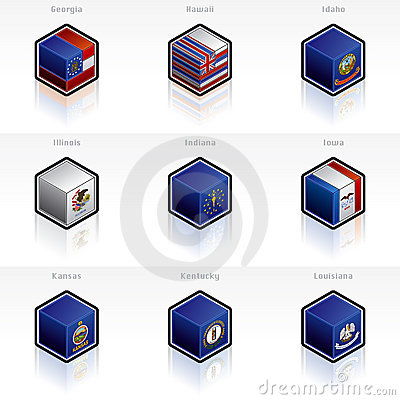 United States Flags Icons Set