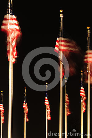 United States flags at night