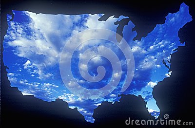 United States mainland with sky