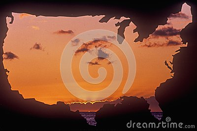 United States mainland with sunset sky