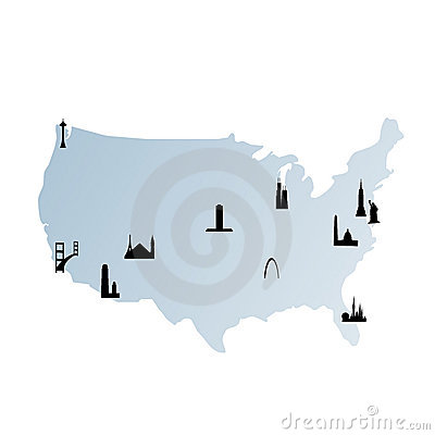 United states map with landmarks
