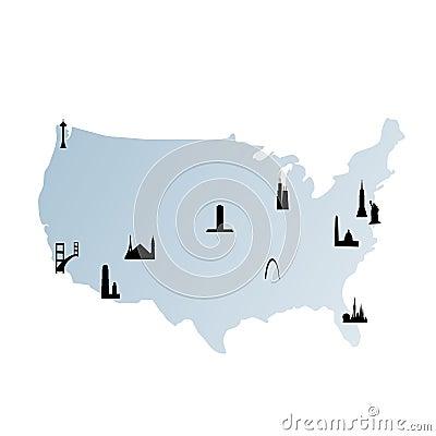 United states map with landmarks