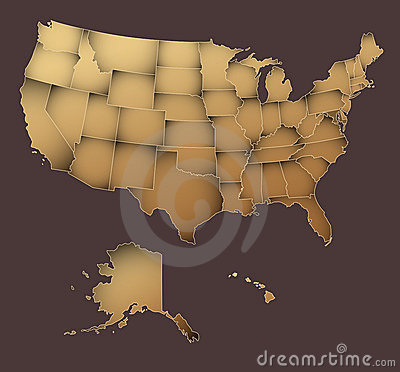 United States map - vintage styled