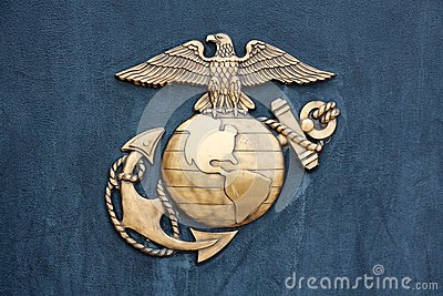 United States Marine Corps Insignia in Gold on Blue