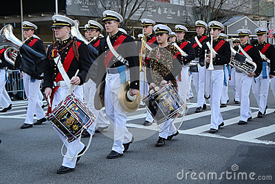 United States Merchant Marine Academy marching at the St. Patrick`s Day Parade in New York. Editorial Stock Image