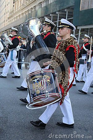 United States Merchant Marine Academy marching at the St. Patrick`s Day Parade in New York. Editorial Photography