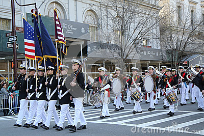 United States Merchant Marine Academy marching at the St. Patrick`s Day Parade in New York. Editorial Photo