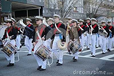 United States Merchant Marine Academy marching at the St. Patrick`s Day Parade in New York. Editorial Image