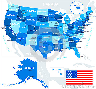 United states usa map and flag illustration stock for States with free land