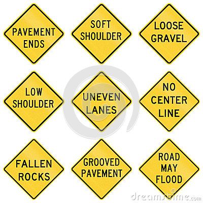Free United States Warning MUTCD Road Signs Royalty Free Stock Photography - 67796177