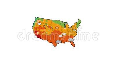 United States Weather Map Drawing 2D Animation.