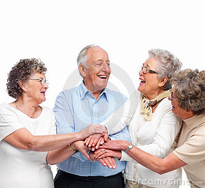 Unity - Old People Team Working Together Stock Image - Image: 7766951