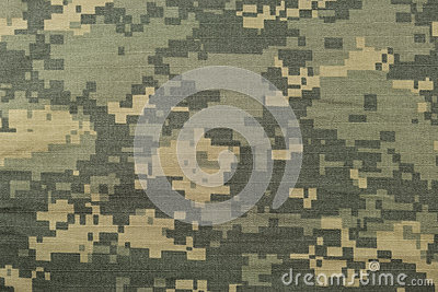 Universal camouflage pattern, army combat uniform digital camo, USA military ACU macro closeup, detailed large rip-stop fabric Stock Photo