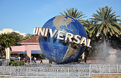Universal Globe in Universal Orlando Editorial Photo
