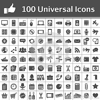 Free Universal Icon Set. 100 Icons Royalty Free Stock Photography - 28733487