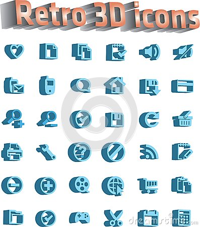 Universal icon set - retro 3d icons