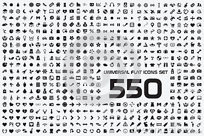Universal set of 550 icons Vector Illustration