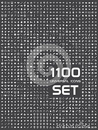 Universal set of 1100 icons Vector Illustration
