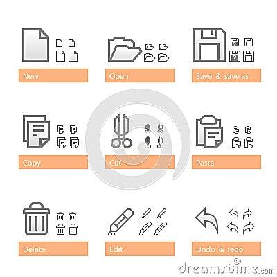 Universal software icon set. Standart part