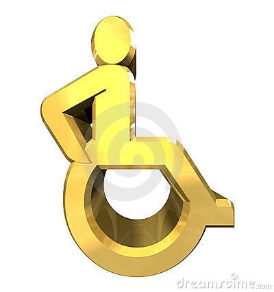 Universal wheelchair symbol in gold (3d)