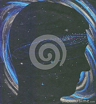 Universe person silhouette in space