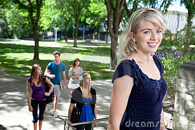 Universit Student Walking to Class