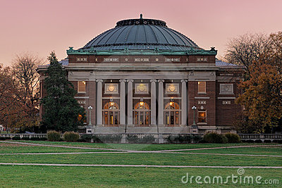 University auditorium at twilight