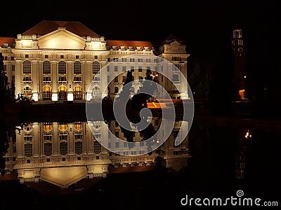 University of Debrecen at night