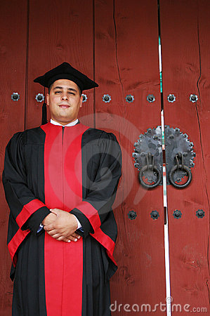 University graduate in robes