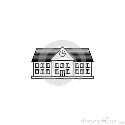 University line icon, school and building Vector Illustration