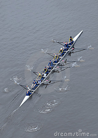 University of Michigan Rowing Team from Above Editorial Stock Photo