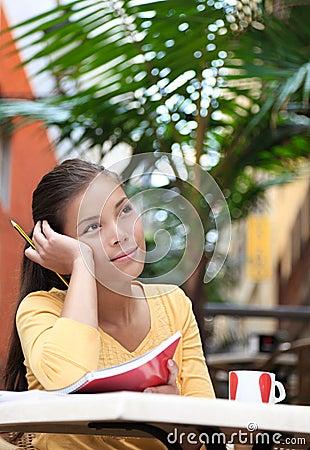 University student at cafe