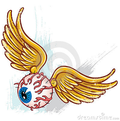 Unk style flying eyeball with wings vector
