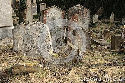 Unkempt graveyard or cemetery