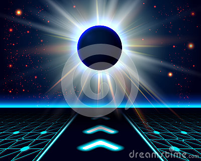 Unknown planet eclipse. Abstract cosmic background