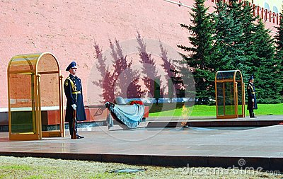 Unknown soldier tomb in Moscow Editorial Image