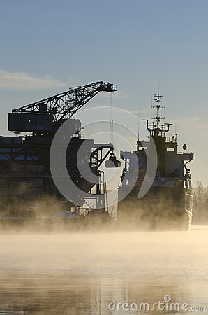 Unloading bulk freighter cold morning Editorial Photography