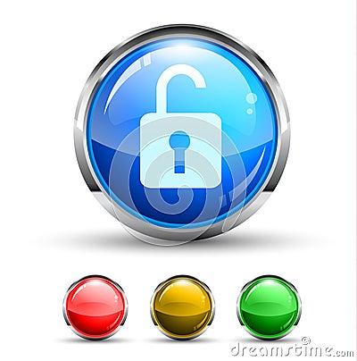 Unlock Cristal Glossy Button