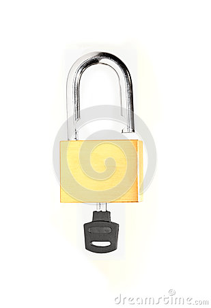 Free Unlocked  Brass Lock With A Key Isolated Royalty Free Stock Photography - 35308207