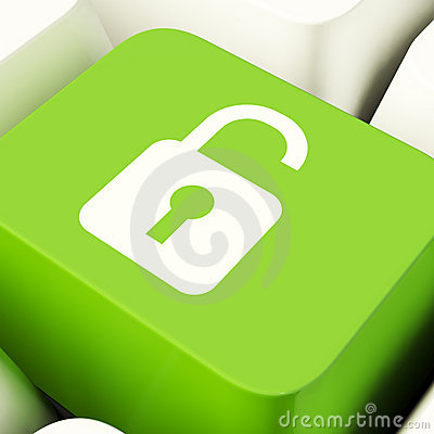 Free Unlocked Padlock Computer Key In Green Stock Images - 22811294