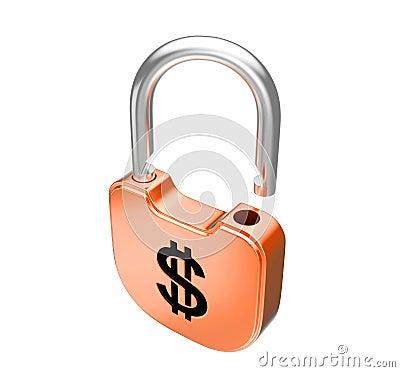 Unlocked US dollar currency padlock