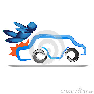 Unlucky man get accident by car crash on the road. Transportation concept illustration Vector Illustration