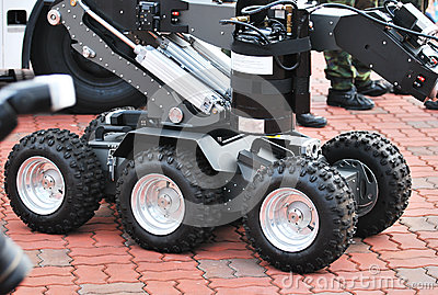 Unmanned Military Vehicle Wheels Stock Photos - Image: 28654813