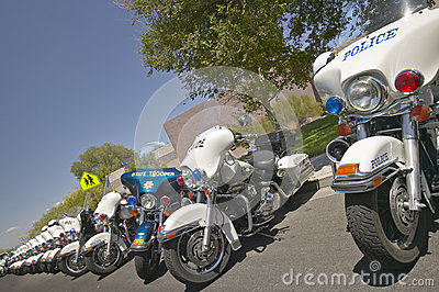 Unmanned police motorcycles parked Editorial Image