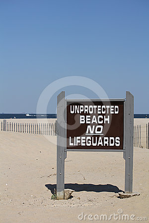 Unprotected Beach Sign No Lifeguards