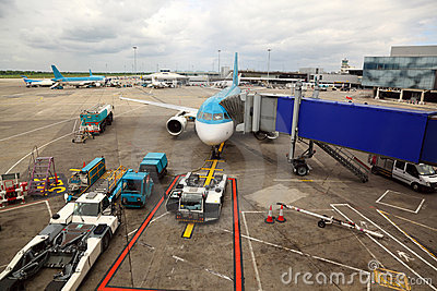 Unreal airliner parked at airport.