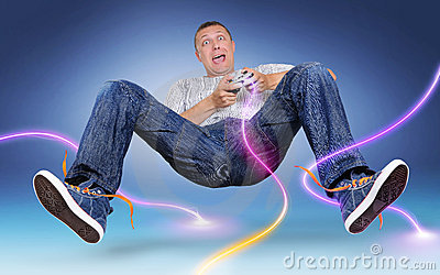 Unreal gamer with gamepad, color electric discharge