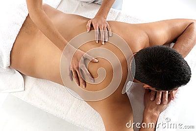 Unrecognizable man receiving massage relax
