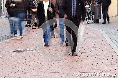 Unrecognizable people in the pedestrian zone